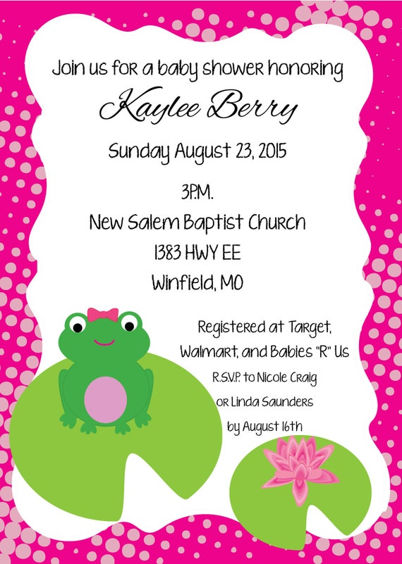 Frog baby shower invitation girl lilly pad invitations etsy image 0 filmwisefo