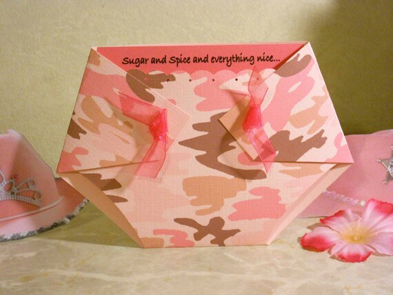 pink camo diaper shaped baby shower invitations girl