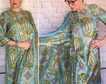 b9b8ab2518c7 1960s Ornate and Regal Turquoise Lounging Robe with Floral Wreath Design -  Boho Chic