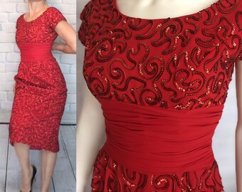 45a9e21e90f2 1960s Ruby Red Sequined Wiggle Dress