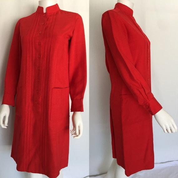Lipstick Red Silk Linen Givenchy Shift Dress - Cir