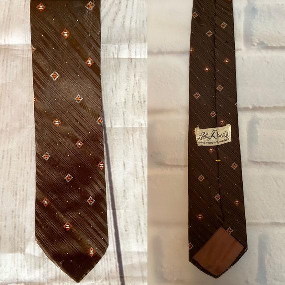 Vintage Lilly DAche'' Brown Embroidered Necktie