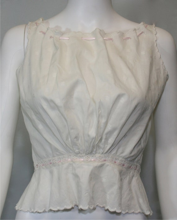 Victorian White Cotton Embroidered Eyelet Blouse