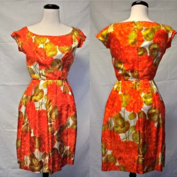 Mid Century Orange Floral Mad Men Silk Dress - Ora