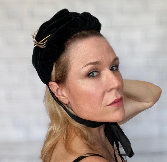 Victorian Black Velvet Bonnet with Silk Ribbons