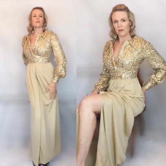 1970s Gold Spun Long Party Gown