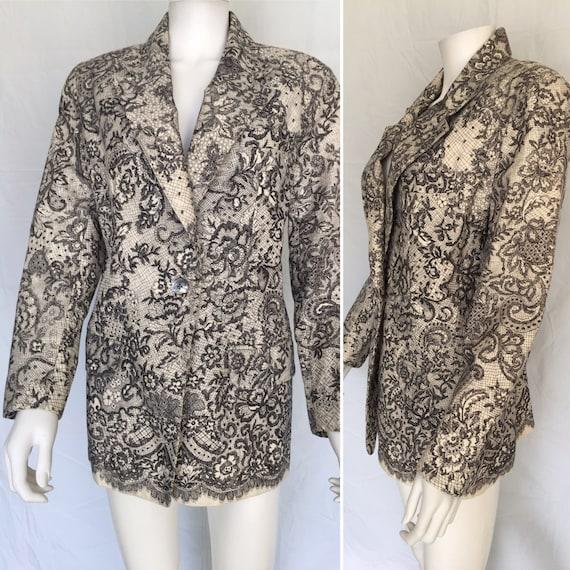 Emanuel Ungaro Vintage Lace Design Blazer - Circa