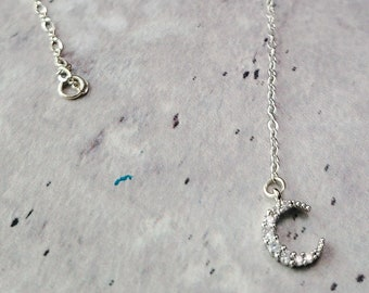 silver moon necklace crystal celestial jewelry moon pendant cz pendant necklace crescent moon gold crescent necklace y necklace gift egirl