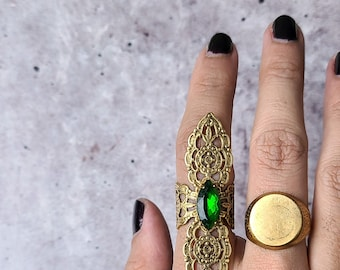 vintage gold cocktail gemstone edwardian filigree armor ring, bold sustainable statement armor, witchy folklore for medieval revival cosplay