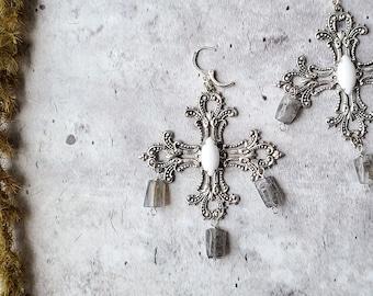 vintage silver victorian gothic cross earrings, labradorite gemstone huggies, dangly earrings women men, vampire medieval baroque cosplay