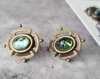 statement dainty gold blue green fire opal glass boho stud earrings, dark academia jewelry, witchy romantic, antique gold gift, for her them
