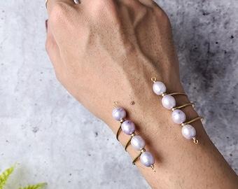 vintage baroque pearl adjustable gold cuff, alternative sculptural statement bracelet, dark academia, plus size bridal jewelry for men women
