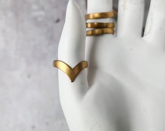 vintage brass simple minimalist thick gold band ring, curved wedding, v shaped chevron ring, edgy stacking jewelry, adjustable boho jewelry