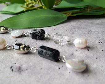 dangling raw stone earrings women, dark academia jewelry, Herkimer diamond quartz, raw gemstone earrings, gift for mom, for her, bridesmaid