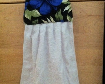 Two Hanging Hand Towels Blue Hibiscus Flower Coconut Button ~1 Set