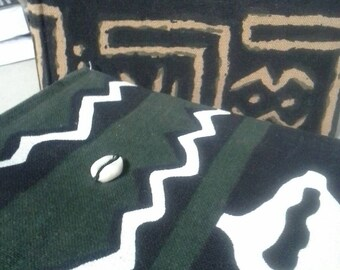 Large Mud Cloth Photo Album Green