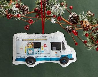 Ice Cream Truck Ornament - Mini Stuffed Pillow - Holiday Decoration - NYC Souvenir - Hanging Cushion
