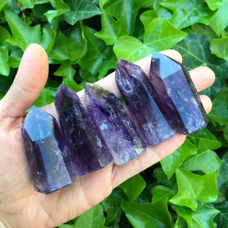 Bright AMETHYST Tower Peace Soothing Sobriety AAA Quality Bold Obelisk  Amethyst Crystal Calm Protection Generator