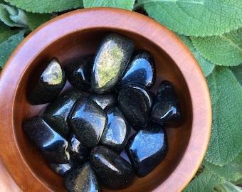 Midnight Lemurian Jade, Black Jade Tumbles // One (1) Rare Gemstones QUARTZ + JADE + PYRITE // Psychic Guardian, Protects against Entities