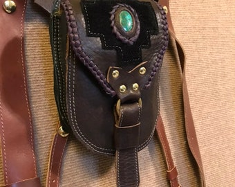 Leather Hip Bag Pouch with Chrysocolla stone