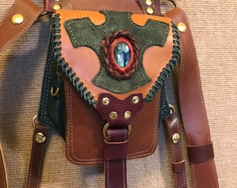 Leather Hip Bag Pouch with Labradorite stone