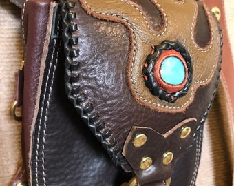 Leather Hip Bag Pouch with Amazonite stone