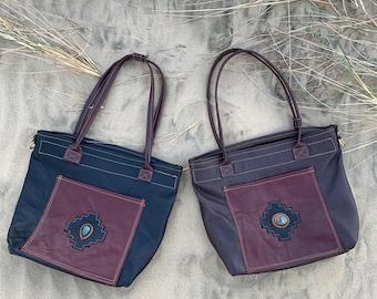Leather shopping bag, books bag, handmade