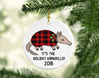 Holiday Armadillo Funny Christmas Ornament Gift For Friends Texas Lover 2018 Buffalo Plaid Ugly Sweater Hanukkah Personalized Customized