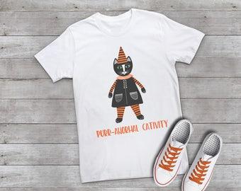 PURR-ANORMAL CATIVITY Black Cat Funny Halloween T-shirt Tee Women's Ladies Shirt