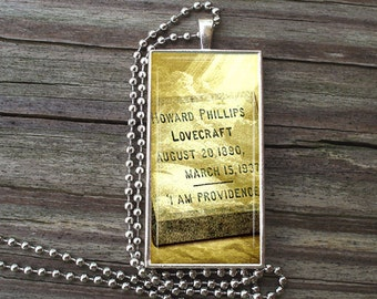 "HP Lovecraft Tombstone - Glass Tile Necklace inside Metal Framed Bezel INCLUDES 24"" Chain"
