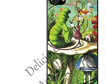 Case for Your Choice of Apple iPhone 4 / 4s / 5 / 6 / 6 Plus + / 7 - Alice in Wonderland Caterpillar HOOKAH  - Rubber Silicone