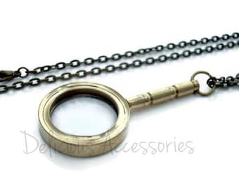 Miniature Solid Brass MAGNIFYING Glass Pendant Necklace