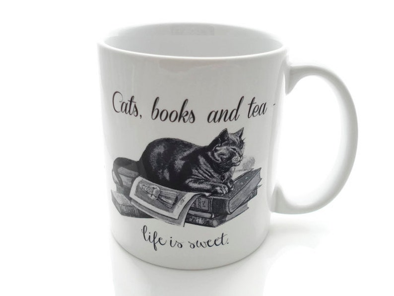 CATS Books and TEA  Life is Sweet 11 ounce Coffee Mug  image 0