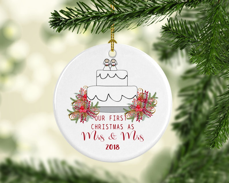 2020 Our First Christmas as Mrs and Mrs Gay Lesbian Married Christmas Ornament Personalized Customized Custom Wedding Newlywed Gift Couple
