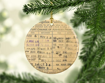 Vintage Reproduction Stamped Library Card Personalized Christmas Tree Ornament Gift for Her Librarian Porcelain Ceramic Book Lover Bookworm