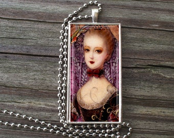 "MARIE ANTOINETTE Glass Tile Necklace inside Metal Framed Bezel INCLUDES 24"" Chain Nouveau Art"