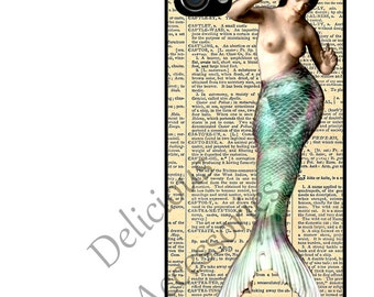 Case for Your Choice of Apple iPhone 4 / 4s / 5 / 6 / 6 Plus / 7  - MERMAID on Vintage DICTIONARY Page  - Rubber Silicone