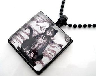 Altered Art Cat TAROT CARD Framed Glass Tile Necklace