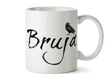 Bruja Coffee Mug, Bruja Witch Mug, Witchcraft Gift, Raven Coffee Mug, Halloween, Black Crow Mug, Nevermore Mug Dark Art Goth Gift Witchcraft