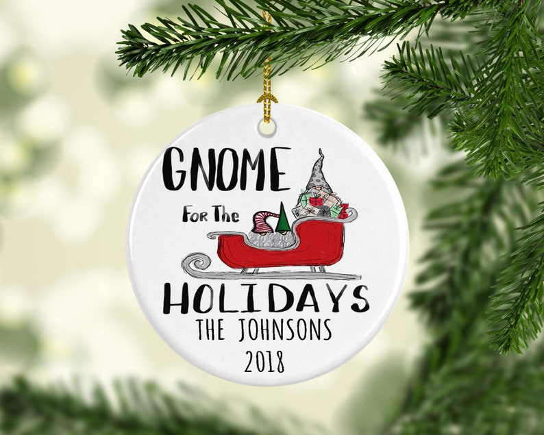 Scandinavian Gnomes Gnome for the Holidays Nordic Swedish Personalized  Christmas Tree Family Name Ornament Gift for Family Porcelain Ceramic
