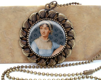 Jane Austen Portrait - Antiqued Brass Ornate Setting Necklace with matching ballchain