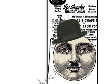 CHARLIE CHAPLIN Man in the Moon- Case for Your Choice of Apple iPhone 4 / 4s / 5 / 6 / 6 Plus + / 7 - Rubber Silicone