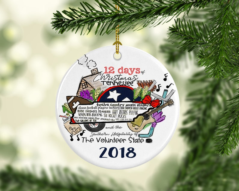 Christmas In Tennessee Vacation.12 Days Of Tn Tennessee Christmas Tree Ornament Country Music Hockey Gift Personalized Customized State Nashville Hockey Football Stocking