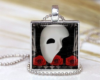 Masquerade -  Framed Glass Tile Necklace INCLUDES Chain