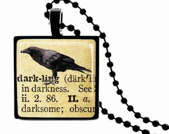 Darkling Definition METAL FRAMED Crow Glass Tile Necklace  INCLUDES Chain