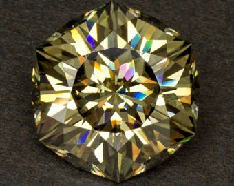 Moissanite Loose Genuine Tan Bronze Fiery Precision Hand Faceted Modern Alternative Cut Designer Gemstone