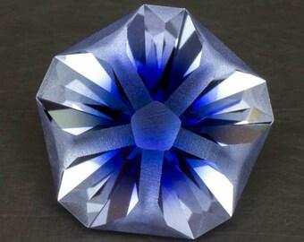 White and Blue Hanami Sapphire Loose Lab Created Modern Floral Handmade Precision Cut Two Tone Gemstone