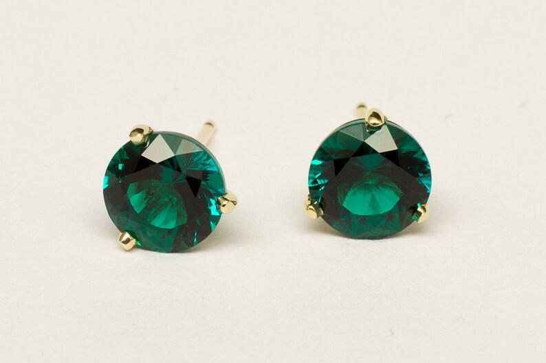 Hydrothermal Emerald Earrings Stylish handmade martini stud image 0