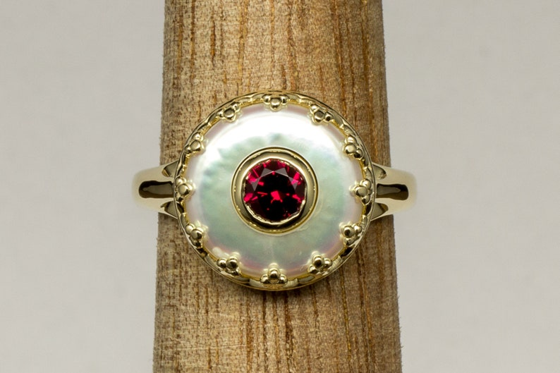 Coin Pearl and Lab Created Ruby 14k Yellow Gold Fine Jewelry image 0