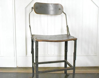 vintage industrial chair- metal and wood factory chair
